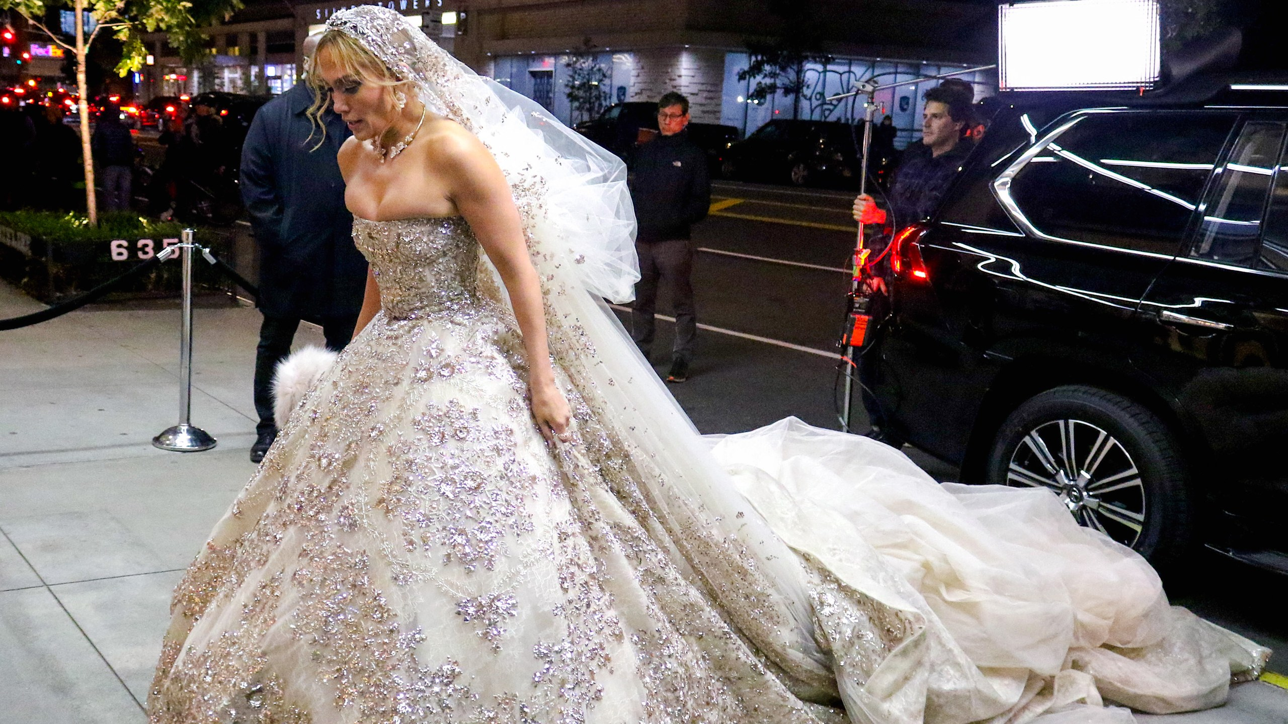 Jennifer Lopez Was Spotted Wearing the Most Blinged-Out Wedding Dress